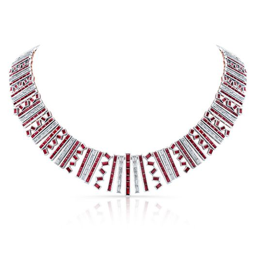 Aspen Diamond - 18K white and rose gold, platinum, diamond and ruby collar.