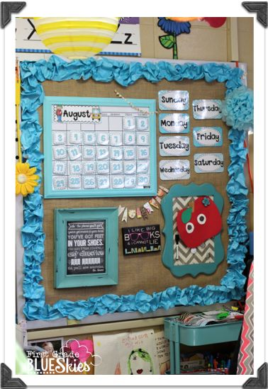 Use burlap on bulletin boards for neutral background that doesn't have to be changed during the year!