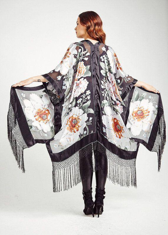 Silk Fringe Kimono - Oriental Vision Classic