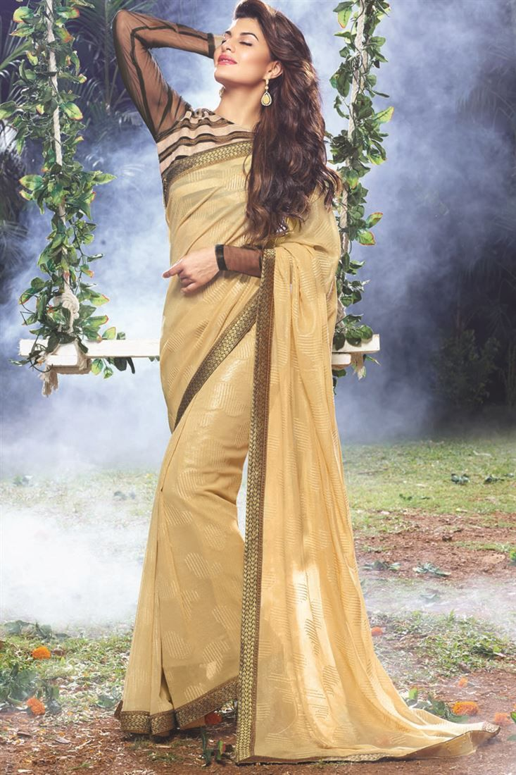 Fawn Designer Party Wear Indian Actress Saree Online From Skysarees.