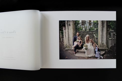 Queensberry Album  |  14x10h Flushmount album  |   Buckram Carbon embossed cover