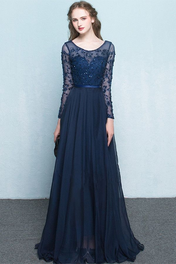Scoop Chiffon Neck Long Sleeves Beading Evening Dress Prom Dress PG322