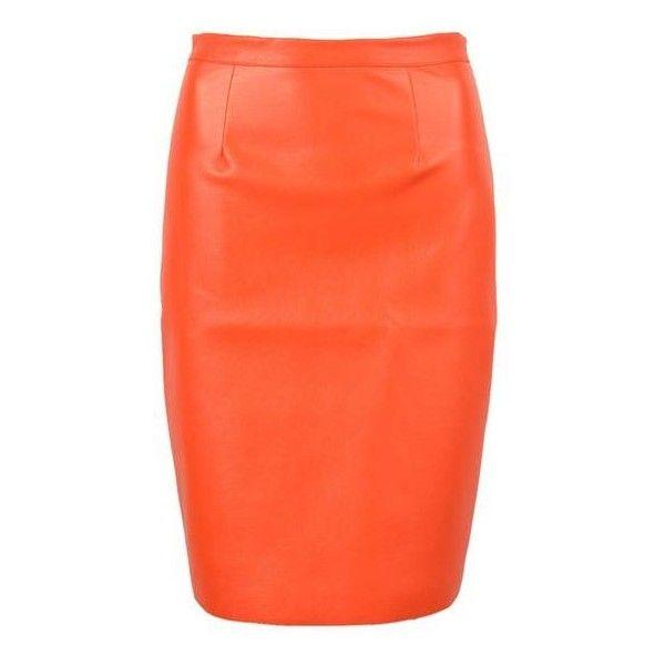Orange Pu Split Back Pencil Skirt ($23) ❤ liked on Polyvore featuring skirts, pu pencil skirt, pu skirt, orange pencil skirt, orange skirts and knee length pencil skirt