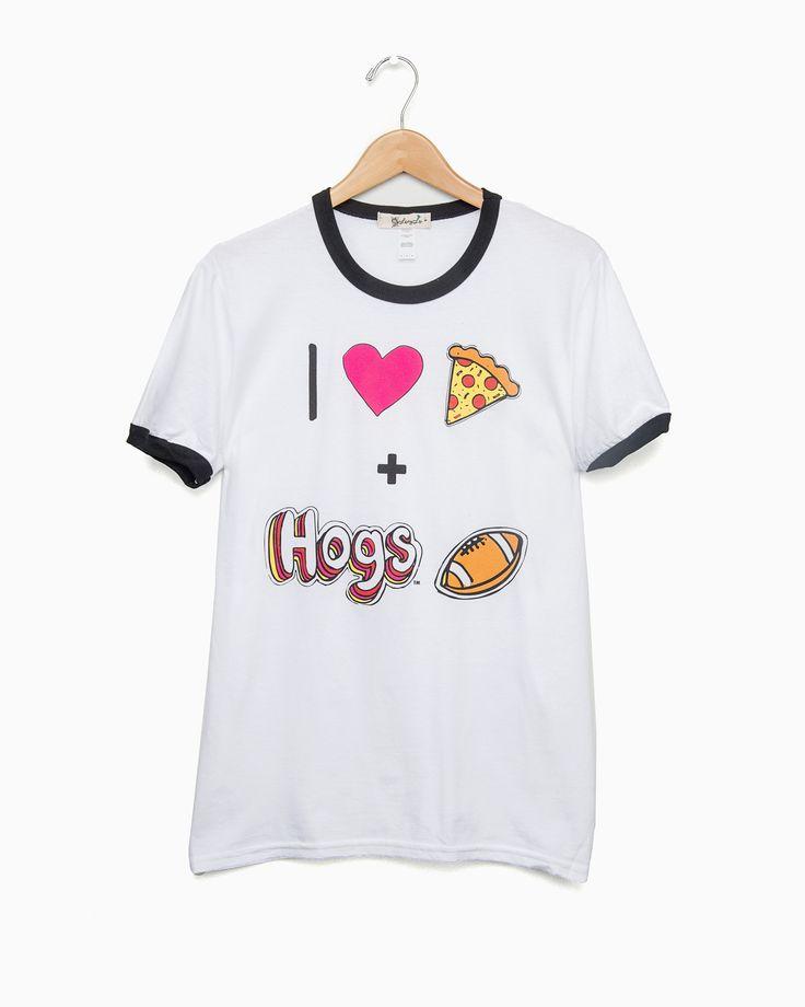I Heart Hogs Football White & Black Ringer Tee