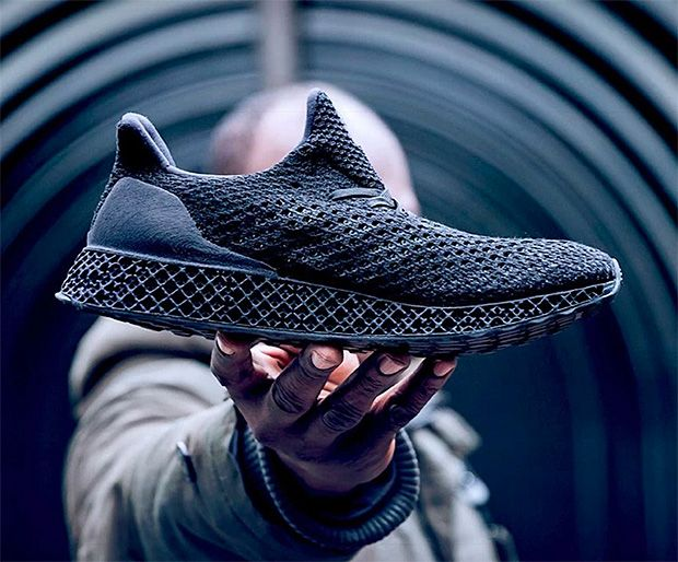 adidas Triple Black 3D-Printed Runner -- With the first official retail release of an adidas running shoe featuring the brand's Futurecraft 3-D printer fiber, the Triple Black 3D runner is built on a 3D printed midsole & heelcup topped off by a super-ventilated Primeknit upper. $333.