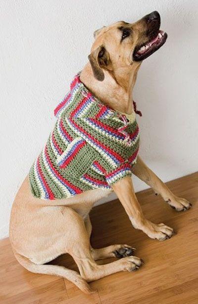 Pocket Hoodie Dog Sweater crochet pattern.