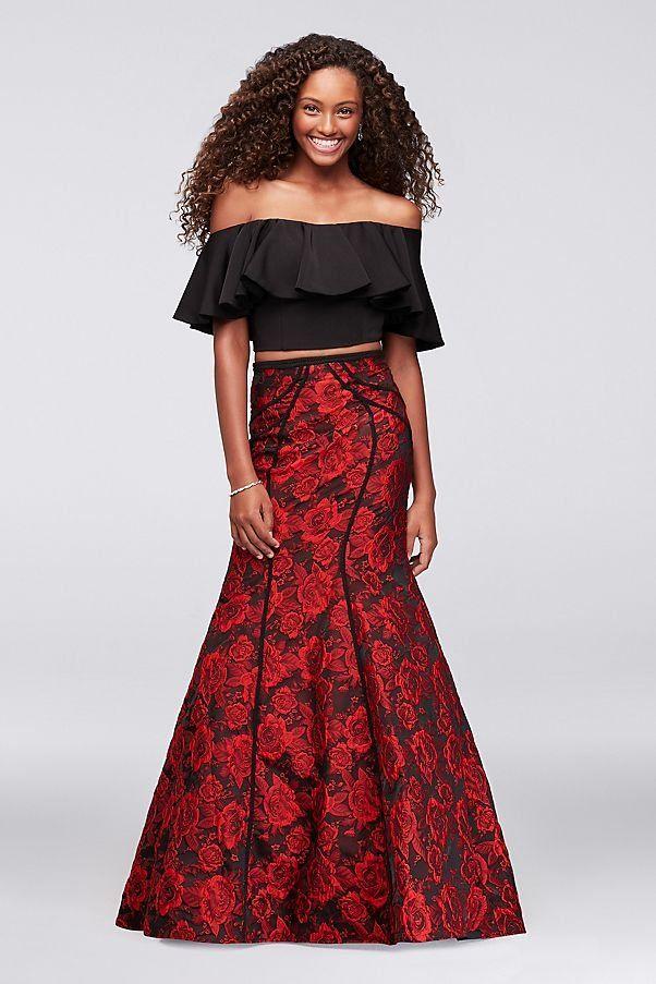 242de59e466 Seamed Brocade Two-Piece Prom Dress with Flounced Top