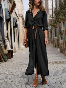 Fashionable Loose Long Sleeved Maxi Dress 11