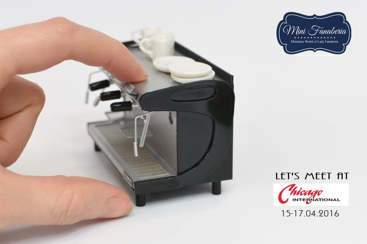 A commercial coffee machine (bar coffee maker) entirely made by me in 1:12 scale.