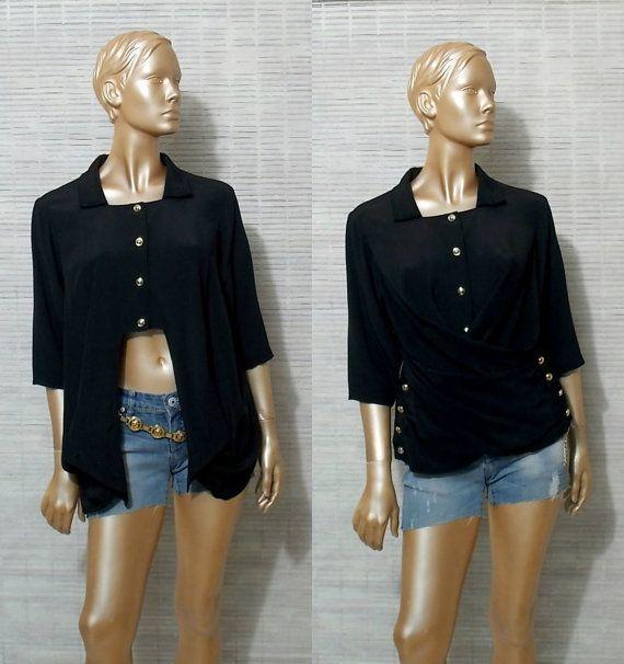 Black wrap shirt crop top asymmetrical blouse avant by IuSshop