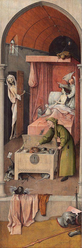 Hieronymus Bosch, La muerte del ávaro, hacia 1494 o posterior. Óleo sobre tabla, 92,6x30,8cm. Washington, National Gallery of art.