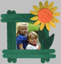 Craft stick Sunflower Picture Frame
