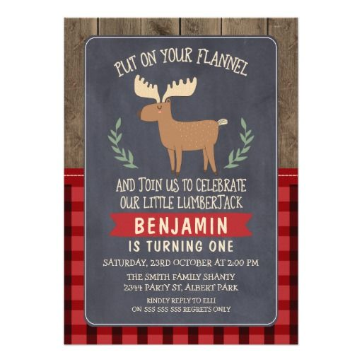 Deer Lumberjack Personalized Birthday Party Invitation. Order yours at Boardman Printing