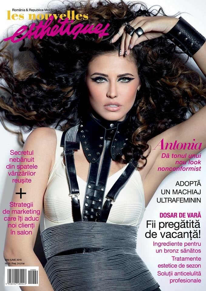 Beautiful #Antonia on the cover of Les Nouvelles Esthetiques magazine wearing Manokhi black leather collar with silver spikes and the python cuffs! #ManokhiDesigns