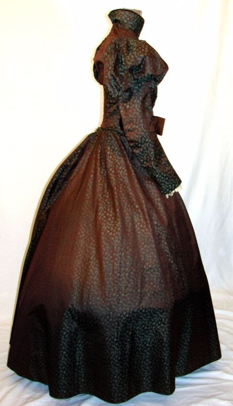 Antique Victorian Printed Silk Faille Bustle Skirt Day Dress Boned Bodice 1880s