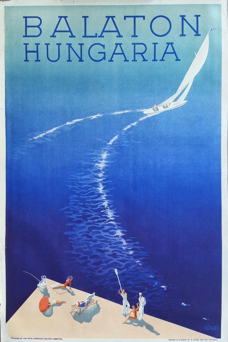 Original+vintage+poster+Balaton+Hungarian+circa+1936+-+Andor+Bánhidi