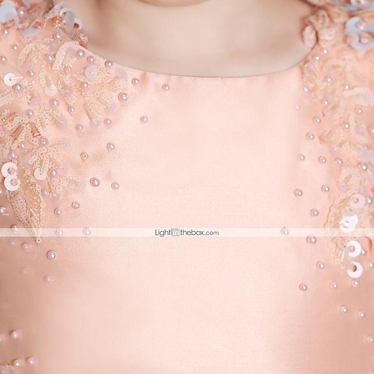 Una línea joya cuello tren tren raso tafetán tul vestido de noche formal con rebordear flor (s) de encaje vendajes lentejuelas 6050100 2017 – €375.99