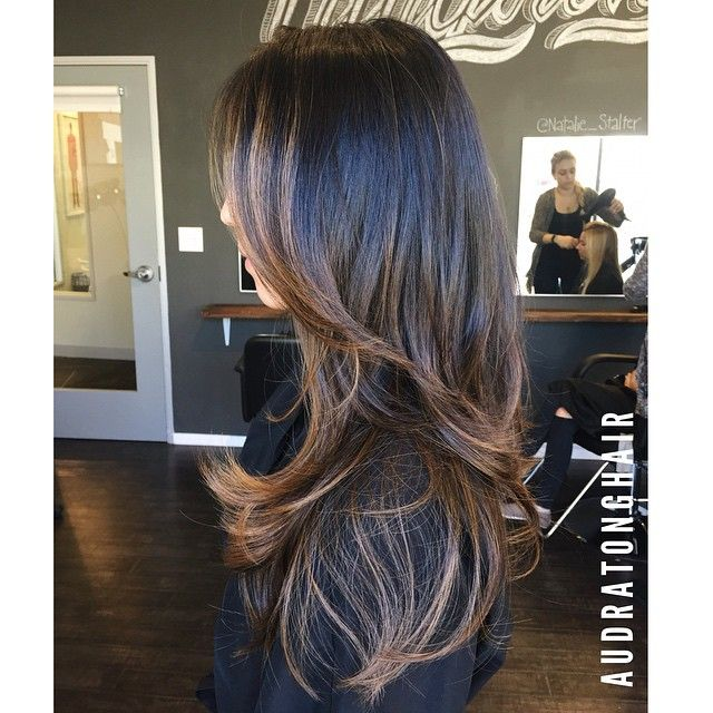"""After finishing this clients color and cut she gave me the best compliment a client can give... """"I would pin my hair""""  #pinterestworthy #haircolor #haircut #audratonghair #balayage #salonrepublic #salonkingston"""