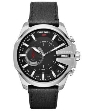 Diesel Men's Mega Chief Black Leather Strap Hybrid Smart Watch 48mm - Black