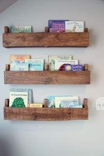 pallet shelves for books + mags