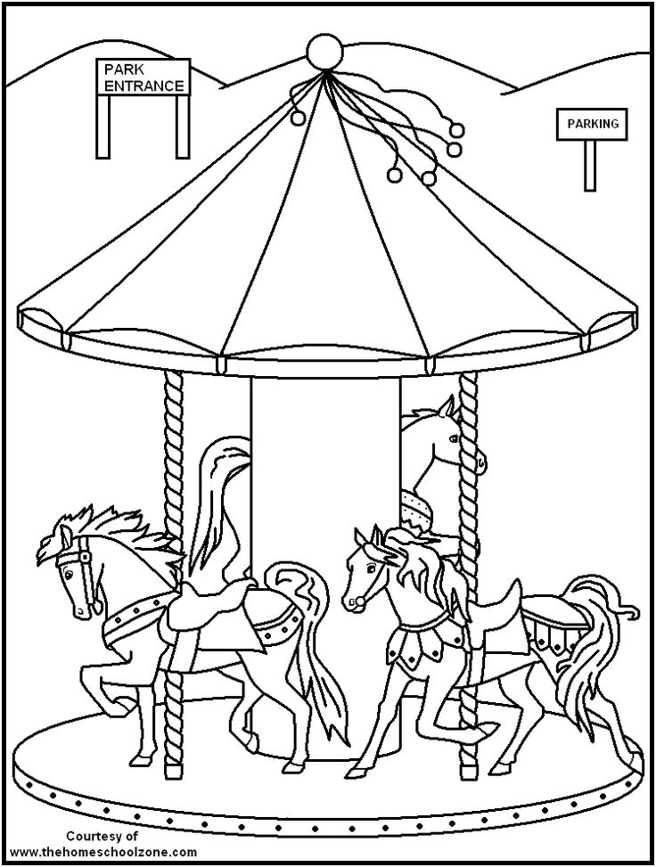 Carnival coloring book pages ~ 246 best LineArt: Carousel Animals images on Pinterest ...