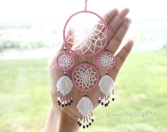 fukuroucrafts: Crochet mini dream catcher, lucky charms for car, ...