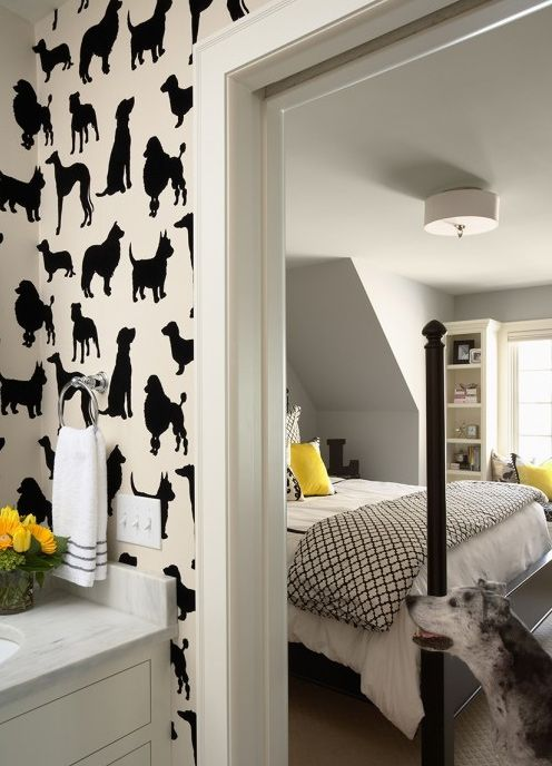 ceiling lamp replacement....love wallpaper: Dog Wallpaper, Dogs Wallpapers, Idea, Bedrooms Design, Dogs Rooms, Interiors, House, Wallpapers Design, Kids Rooms