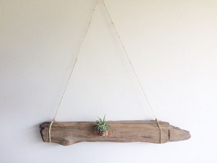 """Kits Beach treasure - with a touch of copper and touch of life. Air plant included ↟Length: 20""""Width: 2""""Height: 20"""" (from peak of twine)"""
