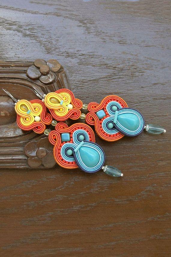Colorful Soutache Earrings Colorful Earrings Statement Earrings Big Chandelier Earrings Big Earrings Multicolor Earrings Long Earrings Large