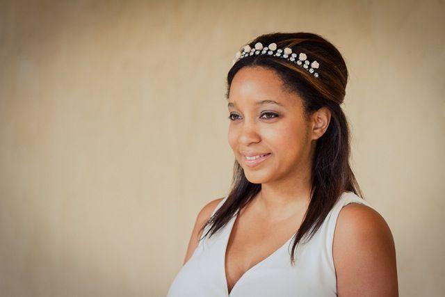 DIY Bridal Crown by Glitter N Glue - use an old rhinestone necklace glued to a headband. So easy!