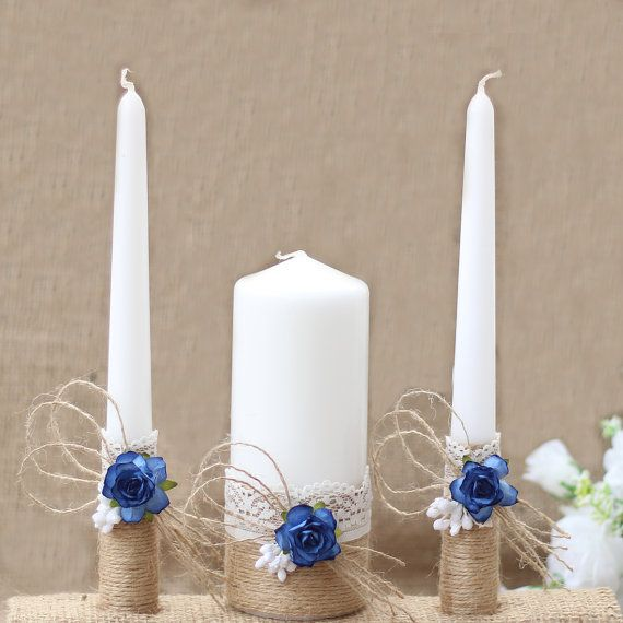 Wedding Unity Candle Set Rustic Wedding Unity Candles by AniArts