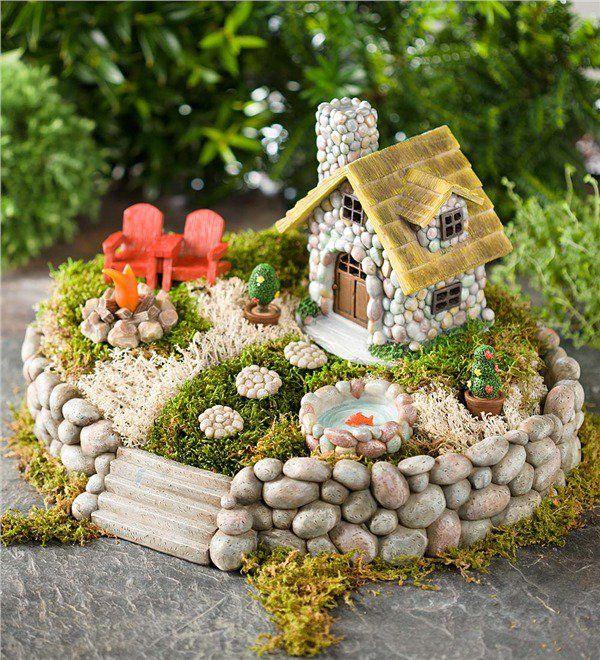 fascinantes casas de piedra en miniatura para embellecer el jardn