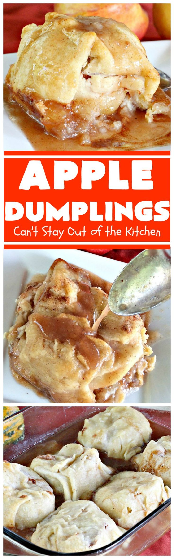 Apple Dumplings | Can't Stay Out of the Kitchen | this is my favorite #dessert. It's absolutely melt-in-your-mouth delicious. #apples are filled with #cinnamon-sugar, rolled in pie crust & glazed with a cinnamon-sugar syrup. Terrific dessert for company or #holidays. (pinned 9.93k)