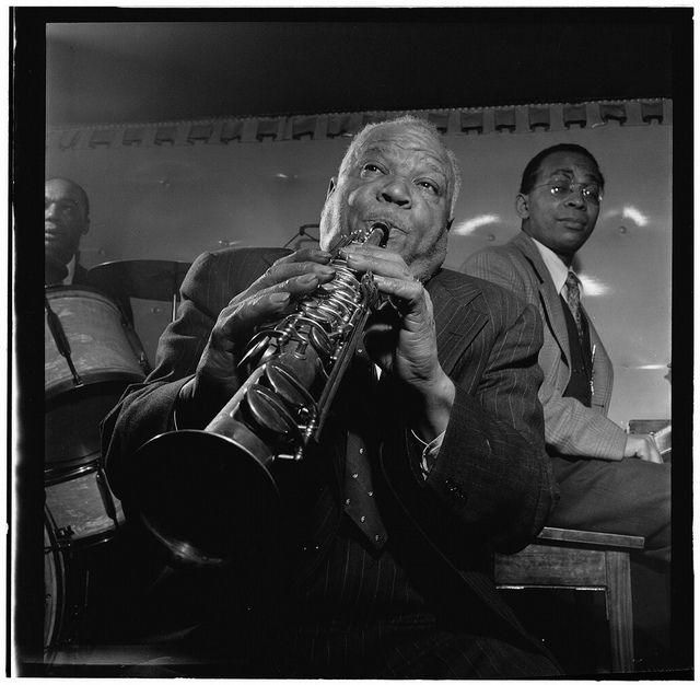 Portrait of Sidney Bechet, Freddie Moore, and Lloyd Phillips, Jimmy Ryan's (Club), New York, N.Y., ca. June 1947