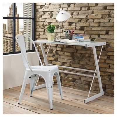 Stackable Metal Café Bistro Chair - Antique White - Saracina Home, Candlelight