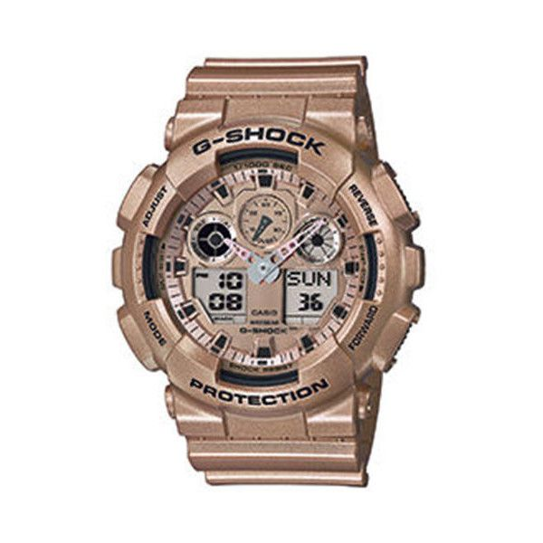 G-SHOCK  The GA100 Watch in Rose Gold (1.305.870 IDR) ❤ liked on Polyvore featuring men's fashion, men's jewelry, men's watches, gold, g shock mens watches and mens rose gold watches