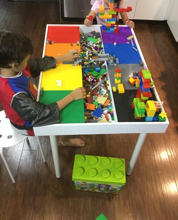 2 in 1 LEGO Building Table /& Train Set Fun Activity Kids Toddler Play Board Game
