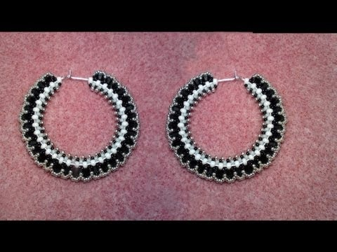 Beaded Hoop Earrings with Swarovski bicones Beading Tutorial by HoneyBeads