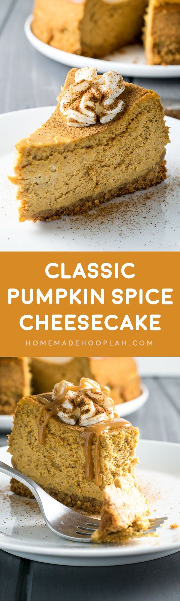 Classic Pumpkin Spice Cheesecake! Classic cheesecake infused with creamy pumpkin, plus a double dose of pumpkin spice - it's baked both in the cake and the crust! Perfect Thanksgiving Dessert! | HomemadeHooplah.com