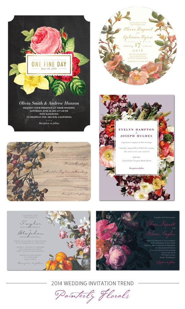 2014 Wedding Invitation Trend : Romantic, Painterly Florals #Wedding #Invitations