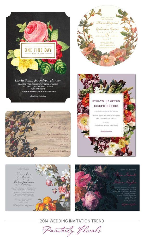2014 Wedding Invitation Trend : Romantic, Painterly Florals #Wedding #Invitations