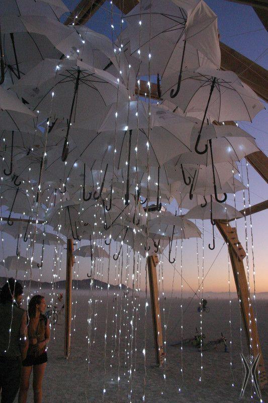 Umbrella rain Lights installations for the Burning Man festival, Nevada.