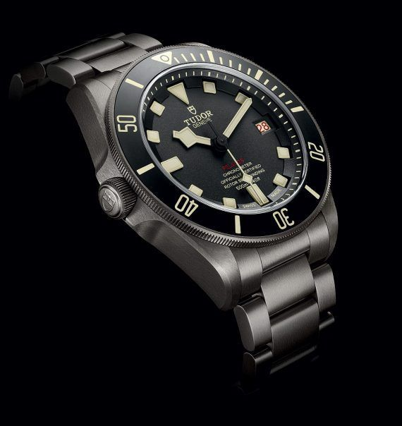 Tudor Pelagos LHD (Left Hand Drive) divers' watch - this left-handed version of Tudor's Pelagos model features a winding stem on the left of the 42-mm, titanium case, is water resistant to 500 meters and is powered by the self-winding Caliber MT5612-LHD.  More @ http://www.watchtime.com/wristwatch-industry-news/watches/tudor-pelagos-lhd-a-dive-watch-for-left-handers/ #tudorwatches #watchtime #divewatch #watchnerd