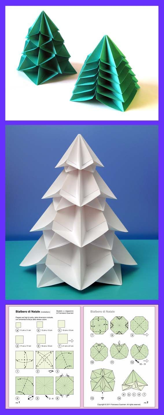 Learn to fold double layered Christmas tree tutorials origami  Tree Origami Christmas  from the storeroom @ POTW