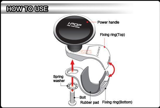 POWER STEERING KNOB I-POP [available in SILVER/BLACK/WHITE] : hottest deals on all car accessories @ carnagar.com