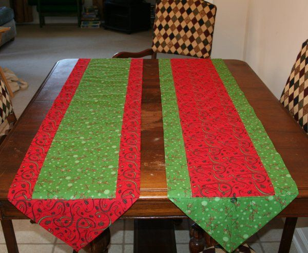 One Hour Table Runners (Want it wider? Then instead of the 1/4 and 1/3rd of a yard, simply use a 1/3rd and a 1/2 of a yard for a wider runner. Now that you know how to make the ten minute table runner, I'm thinking this would be the perfect way to create a seasonal display for Christmas, Fall, Halloween, Valentines or any special occasion.)