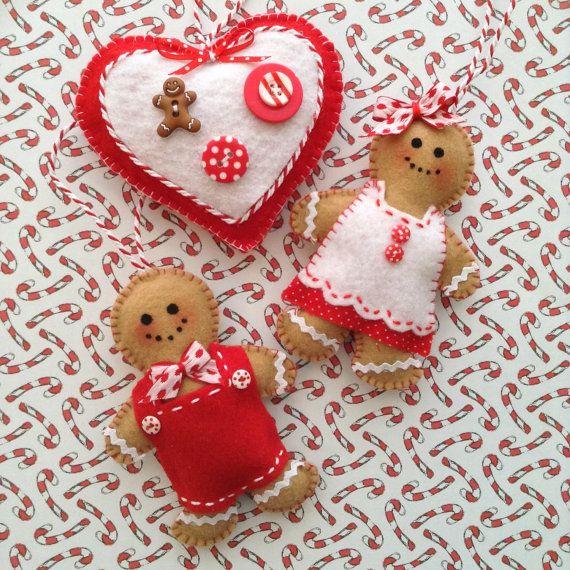 Gingerbread Ornaments / Christmas Gingerbread Felt by CraftsbyBeba