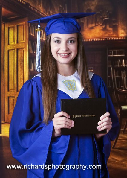 graduation portraits of high school senior girl cap and gown with ...