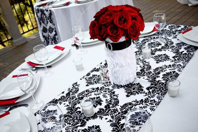 Black, White & Red Wedding- change the centerpiece. I want this as the table runner.