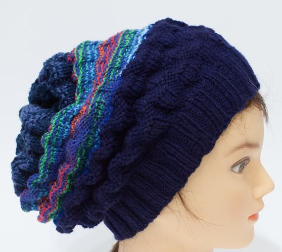 Teen  colorful hat Long hat Crochet slouchy hat Men acrylic hat Women hat Boho beanie Adult acrylic hat Unisex hat